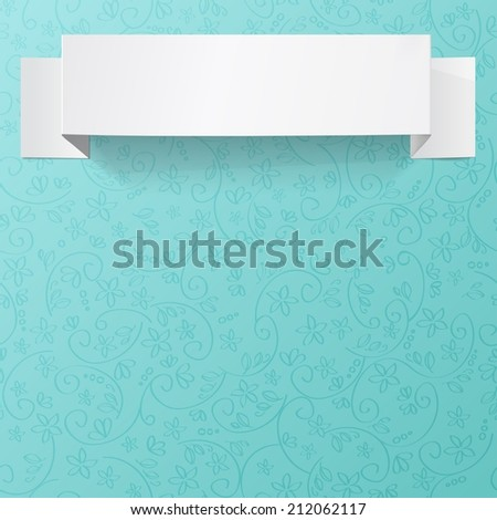 White sheet of paper on a flower pattern. Origami vector banner. - stock vector