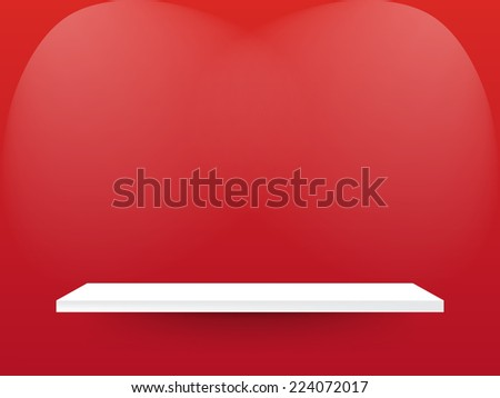 white shelves with red background - stock vector