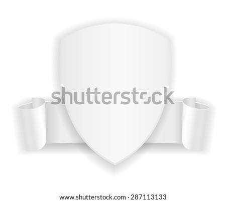 white shield banner badge icon with ribbon - stock vector