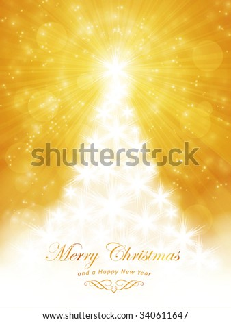 White shiny Christmas tree made of stars on a golden backdrop with a faint light burst centered at the top of the tree and light effects giving it a magic, festive feeling. - stock vector