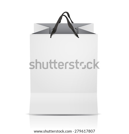 white shopping bag template isolated on white - stock vector
