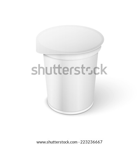 White Short And Stout Tub Food Plastic Container For Dessert, Yogurt, Ice Cream, Sour Sream Or Snack.  - stock vector