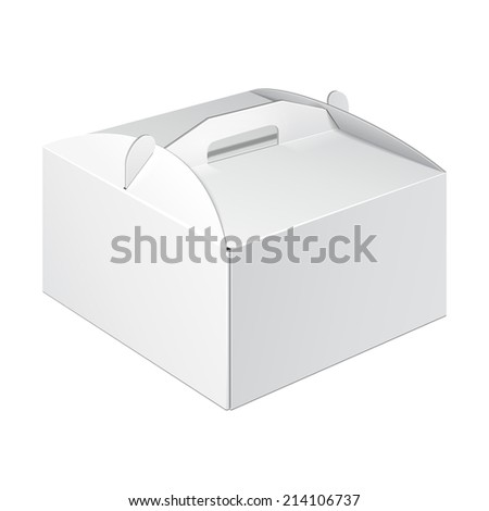 White Short Square Cardboard Cake Carry Box Packaging For Food, Gift Or Other Products. On White Background Isolated. Ready For Your Design. Product Packing Vector EPS10 - stock vector