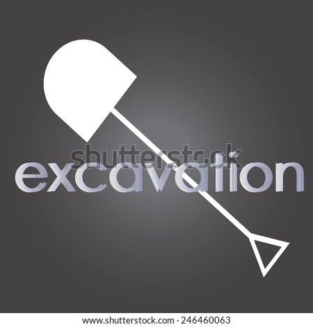 white shovel and cutting disc on black background - stock vector