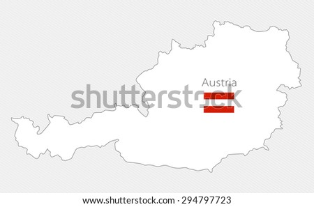 White silhouette map of Austria on gray background - stock vector