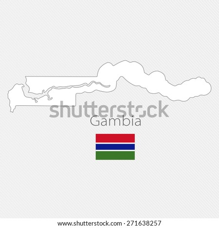 White silhouette map of Gambia on a gray background - stock vector