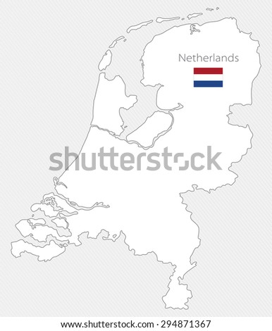 White silhouette map of Netherlands on a gray background - stock vector
