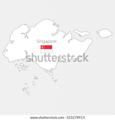 White silhouette map of Singapore. Asia - stock vector