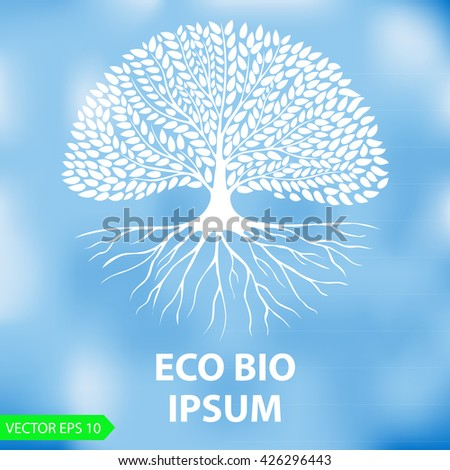 White silhouette of a tree on a blurred blue background. The blank for company logos. Nature and ecology theme. Vector Image. - stock vector
