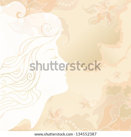 White silhouette of the girl's head, exquisite flowers. Girl enjoying the fragrance of flowers. Soft pastel colors, background like an old paper. For background, textiles, cards, wrapping - stock vector