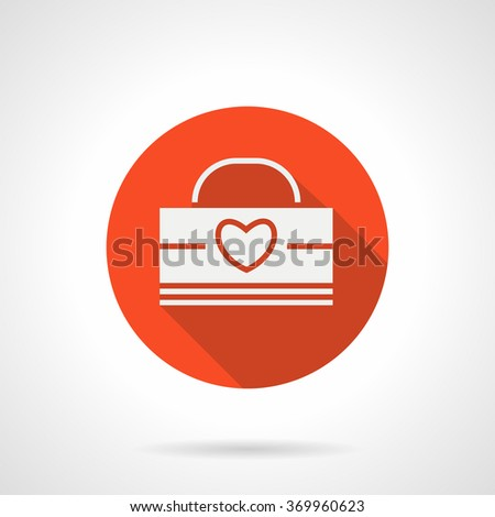 White silhouette paper pack or shopping bag with red line heart. Package for romantic gift. Holidays sales. Valentines Day. Red round vector icon. Element for web design, business, mobile app. - stock vector