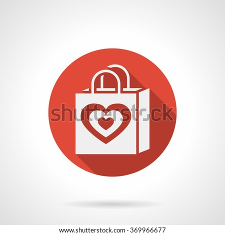 White silhouette shopping bag with heart symbol. Valentines Day greetings. Red round vector icon, long shadow. Element for web design, business, mobile app. - stock vector