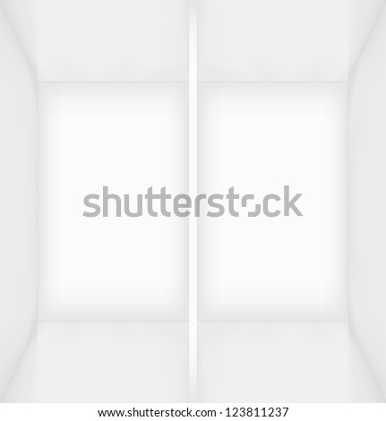 White simple empty rectangle room interior or box divided into two parts. Vector illustration - stock vector