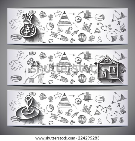 White sketched business Banners: Money, House, Location  - vector illustration - stock vector