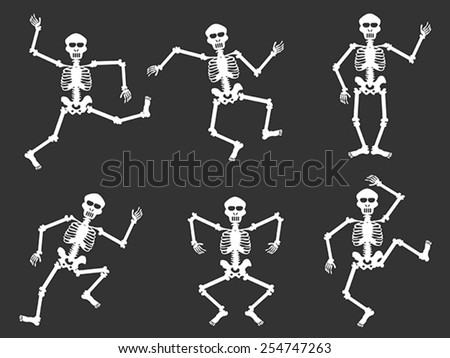White skull dancer silhouettes - stock vector