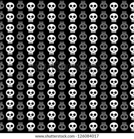 White skull patterns on black background - stock vector