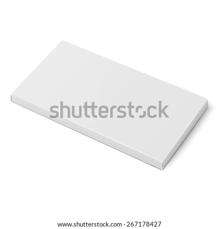 White slim cardboard box template for chocolate, crayons, pencils. Packaging collection. Vector illustration. - stock vector