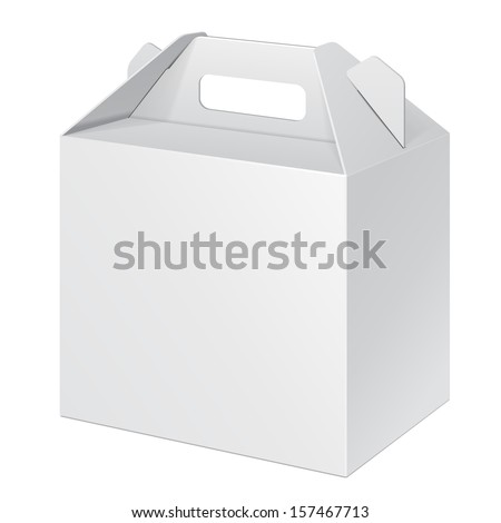 White Small Cardboard Carry Box Packaging For Food, Gift Or Other Products. On White Background Isolated. Ready For Your Design. Product Packing Vector EPS10  - stock vector