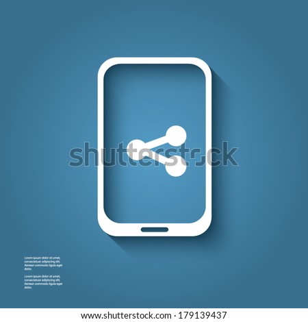 White smart phone infographic element with social media icon in the middle with 3d effect. Eps10 vector illustration. - stock vector