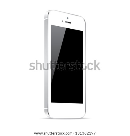 White smart phone vector illustration isolated on white - stock vector