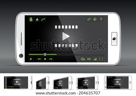 White Smart Phone Video Player - Vector illustration - multiple views of a smart phone with video player interface. Media player with full interface included. File type: vector EPS AI8 compatible.  - stock vector