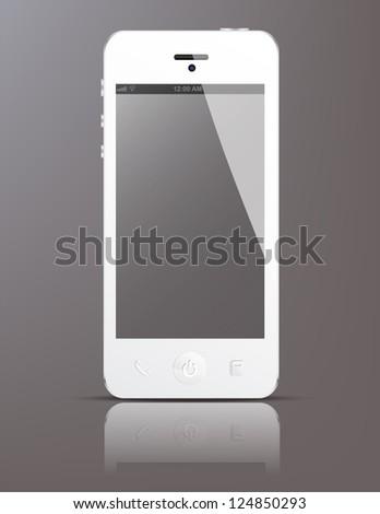 White smartphone concept - stock vector