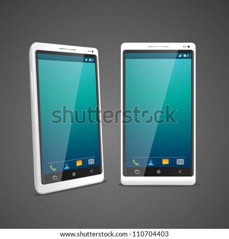 White smartphone in 2 perspective - stock vector