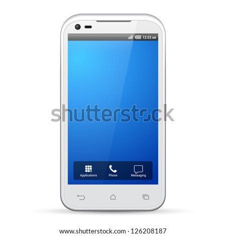 White Smartphone Template Display Screen Resolution 480x800. Isolated On White Background.. Vector EPS10 - stock vector