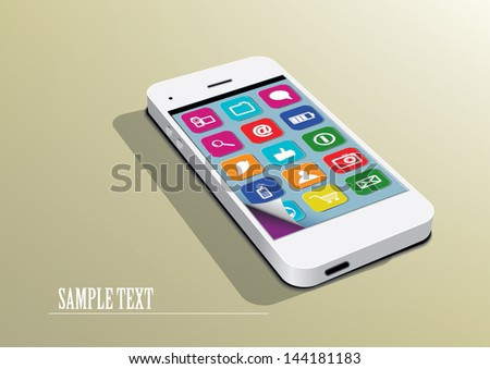 White smartphone with icons - stock vector