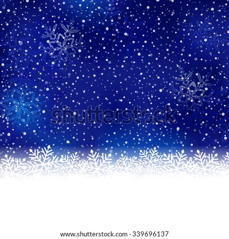 White snow flake border at the bottom of a blue abstract background with blurry light dots and snow fall. - stock vector