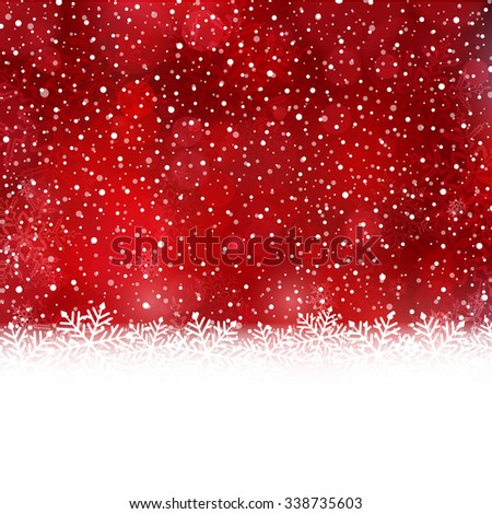 White snow flake border at the bottom of a red abstract background with blurry light dots and snow fall. - stock vector