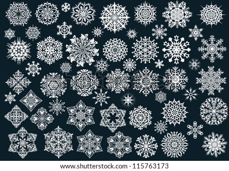white snowflakes collection on black background - stock vector