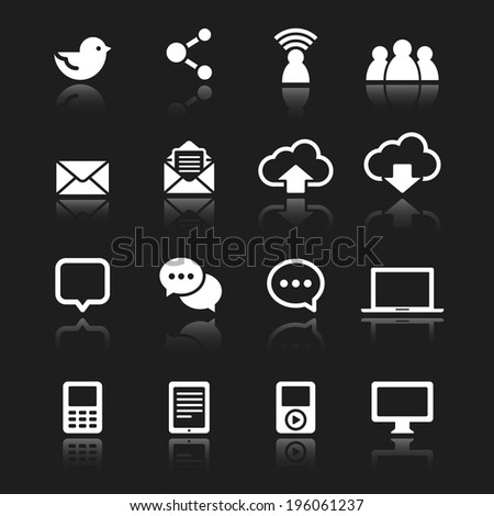 White Social Media Icons  - Set of white icons with reflections isolated on a dark gray background.  Vector eps 10 file. - stock vector