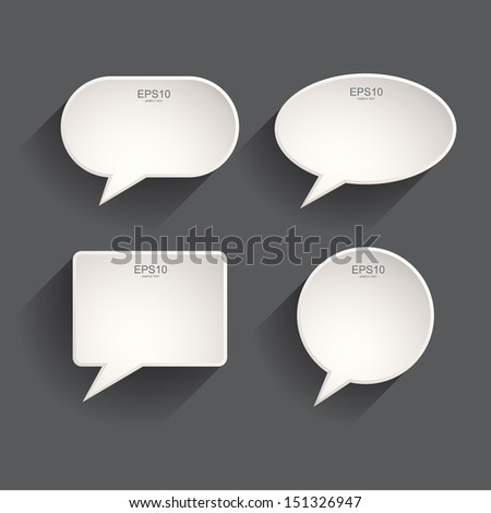 White Speech Bubbles Set - Vector Illustration - stock vector