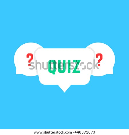 white speech bubbles with quiz. concept of solution survey, choose, game time, inquirer, issue, problem solve, quizz. flat style trend modern logotype design art vector illustration on blue background - stock vector