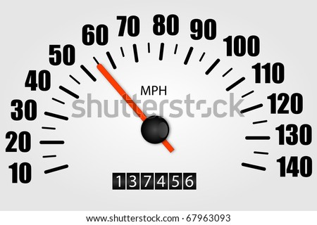 White Speedometer Illustration - stock vector