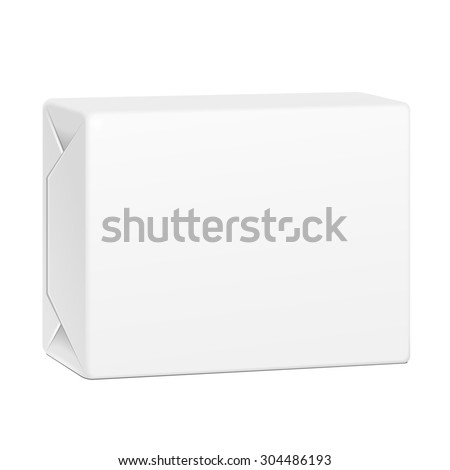 White Spread Butter Package Product Cardboard Box. Illustration Isolated On White Background. Mock Up Template Ready For Your Design. Vector EPS10 - stock vector