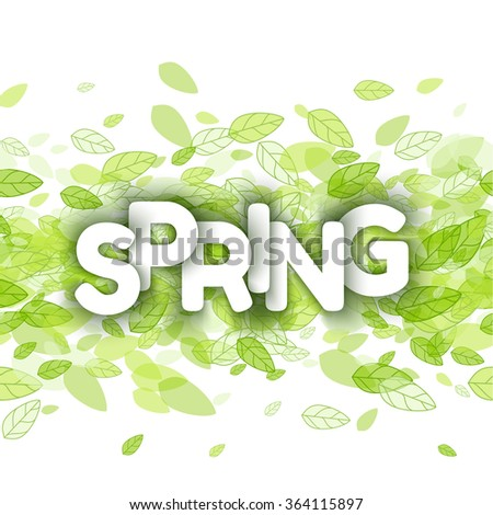 White spring sign over green leaves background. Vector illustration. - stock vector