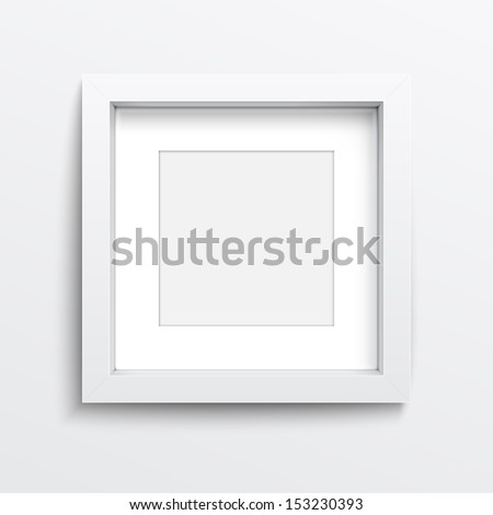 White square frame on gray wall with realistic shadows. Vector illustration. EPS10. - stock vector