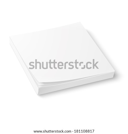 White square paper or sticker block template, isolated on white background. Vector illustration. - stock vector