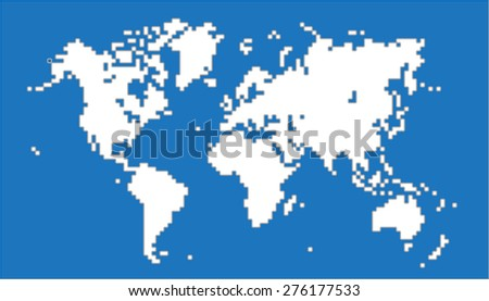 White square round edge world map on blue background. Vector illustration. - stock vector