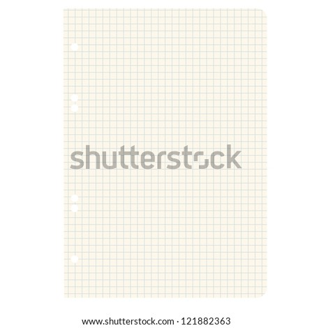 White squared blank white paper sheet. Vector illustration. - stock vector