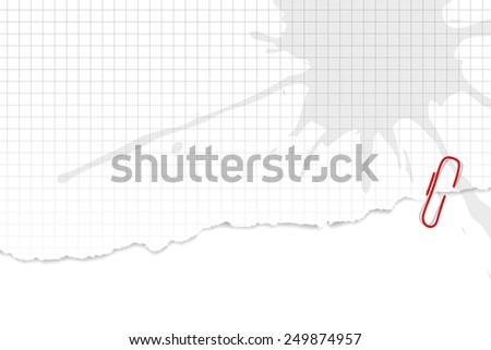 White squared paper background with torn edge - stock vector