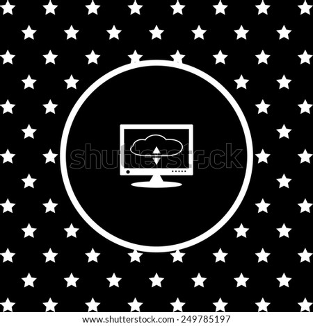 White stars and a white circle on a black background. cloud storage on the computer, vector illustration, EPS 10 - stock vector