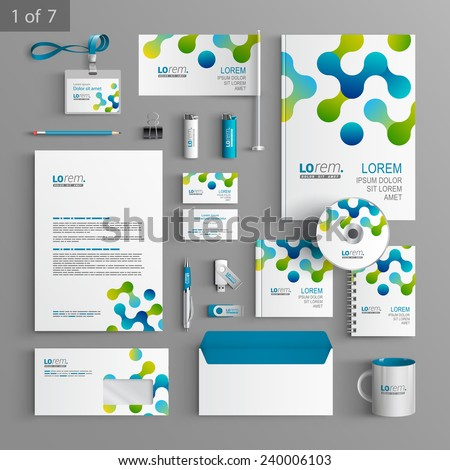 White stationery template design with blue and green geometric pattern. Documentation for business. - stock vector
