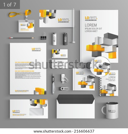 White stationery template design with color cubes. Documentation for business. - stock vector