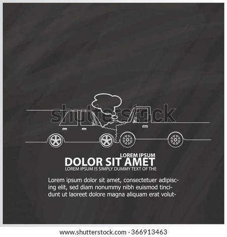 White stripe car crash with a truck sign on a blackboard. In vector  - stock vector