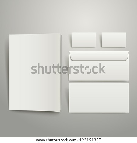 white style of blank envelopes business card and folder isolated on gray - stock vector