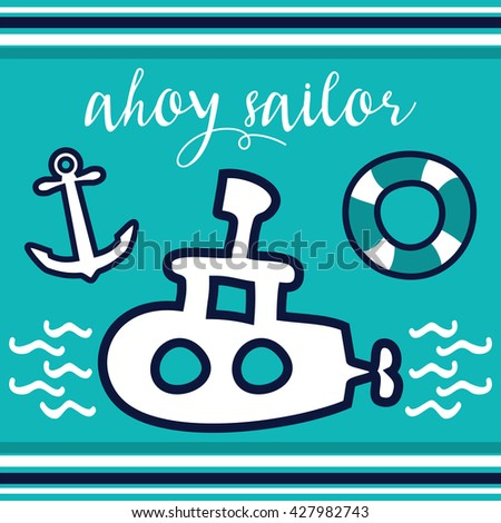 White submarine with anchor and swimming belt in the sea. Children and summer concept. - stock vector