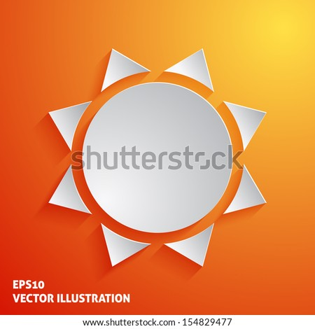 White sun icon on orange background. Vector illustration - stock vector